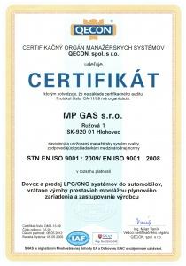 Certifikat kvality ISO 9001:2009
