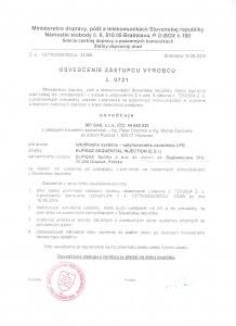 Osvedčenie zástupcu výrobcu Elpigaz